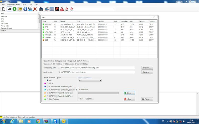 un nouveau logiciel qui remplace le DDT2000, qui s'appelle Renolink Reno_m11