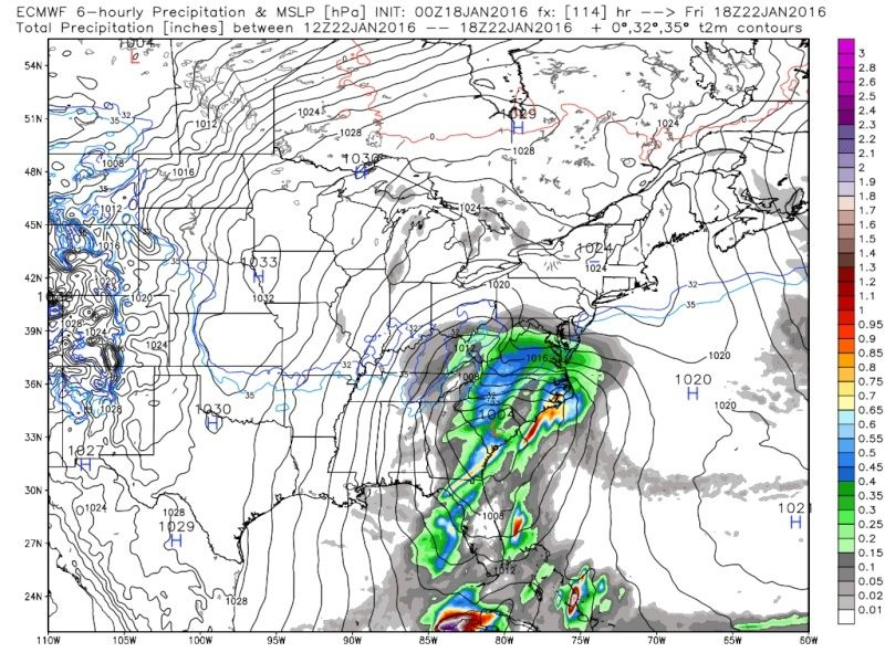 01/22/16-01/23/16 Update #1 - Historic Storm Possible - Page 5 Ecmwf_12