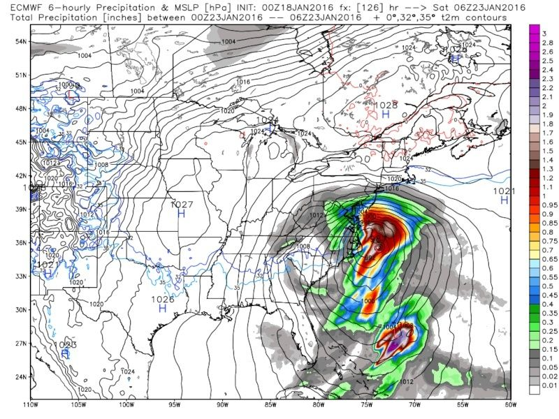01/22/16-01/23/16 Update #1 - Historic Storm Possible - Page 5 Ecmwf_13