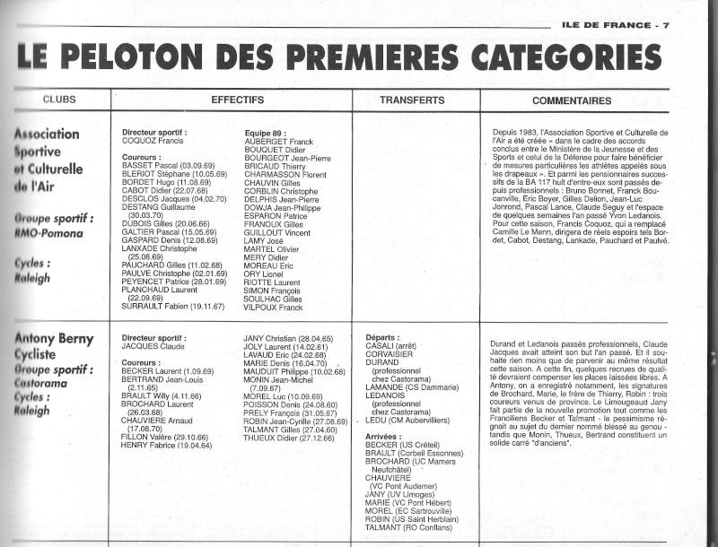 Coureurs et Clubs de janvier 1990 à octobre 1993 00141