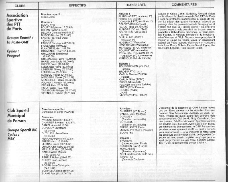 Coureurs et Clubs de janvier 1990 à octobre 1993 00625