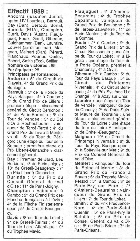 Coureurs et Clubs de janvier 1990 à octobre 1993 00723