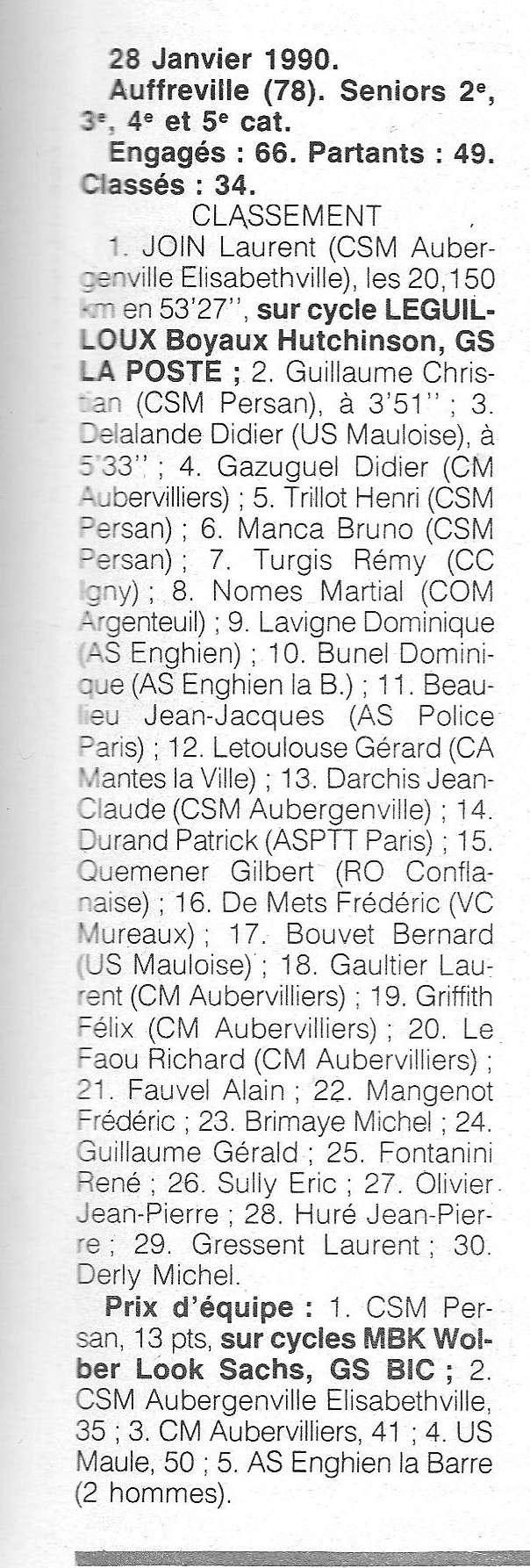 Coureurs et Clubs de janvier 1990 à octobre 1993 00920