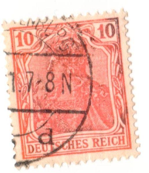 Briefmarke 10 Pfennig Germania mit Besonderheit Bildsc17