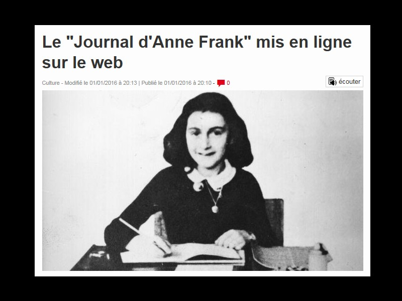 """Le """"Journal d'Anne Frank"""" mis en ligne sur le web  129"""