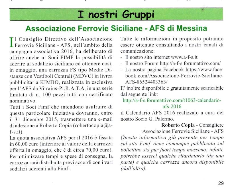 da febbraio 2014 l'AFS è Socia della FIMF (Federazione Italiana Modellisti Ferroviari e Amici della Ferrovia) Bollet10