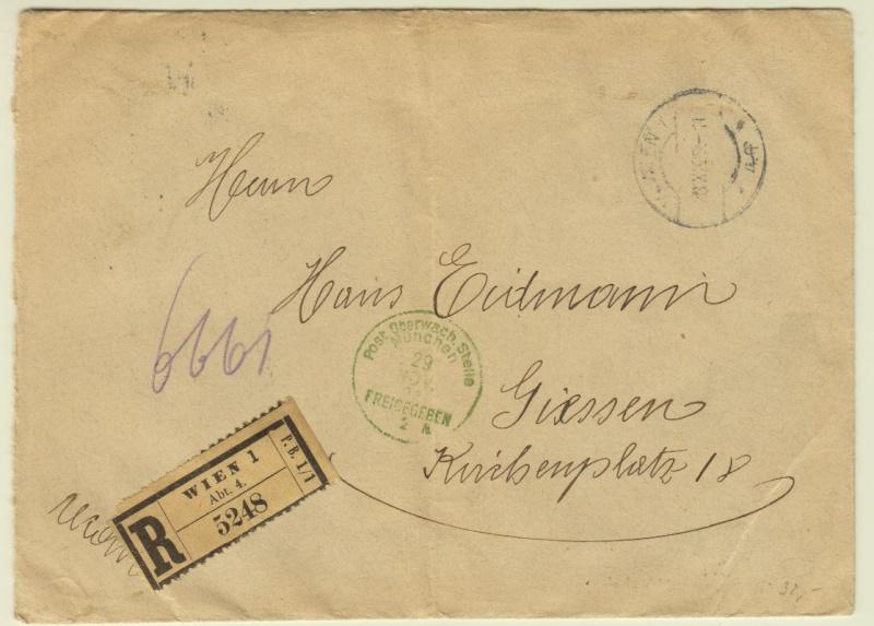 Devisenkontrolle im Deutschen Reich nach Ende des 1. Weltkrieges Wien_510