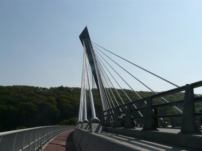 Première mondiale : 2011, le pont à haubans et tablier courbe de Térénez P1540618
