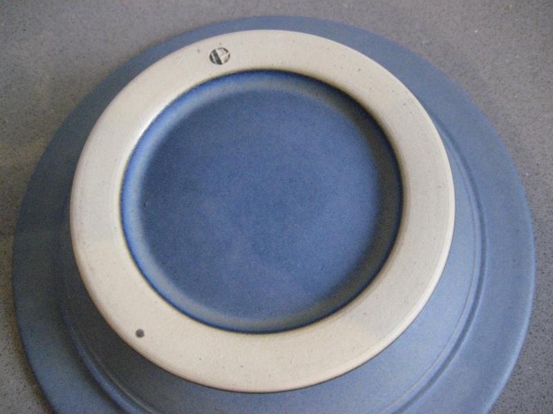 Shallow flower bowl? blue glaze, IH stamp - possibly Ian Hinchcliffe   Img_1623