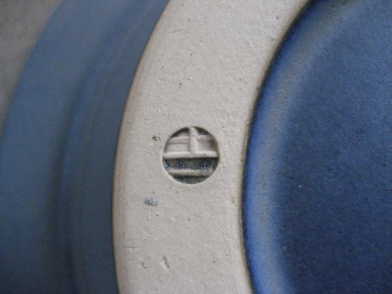 Shallow flower bowl? blue glaze, IH stamp - possibly Ian Hinchcliffe   Img_1624
