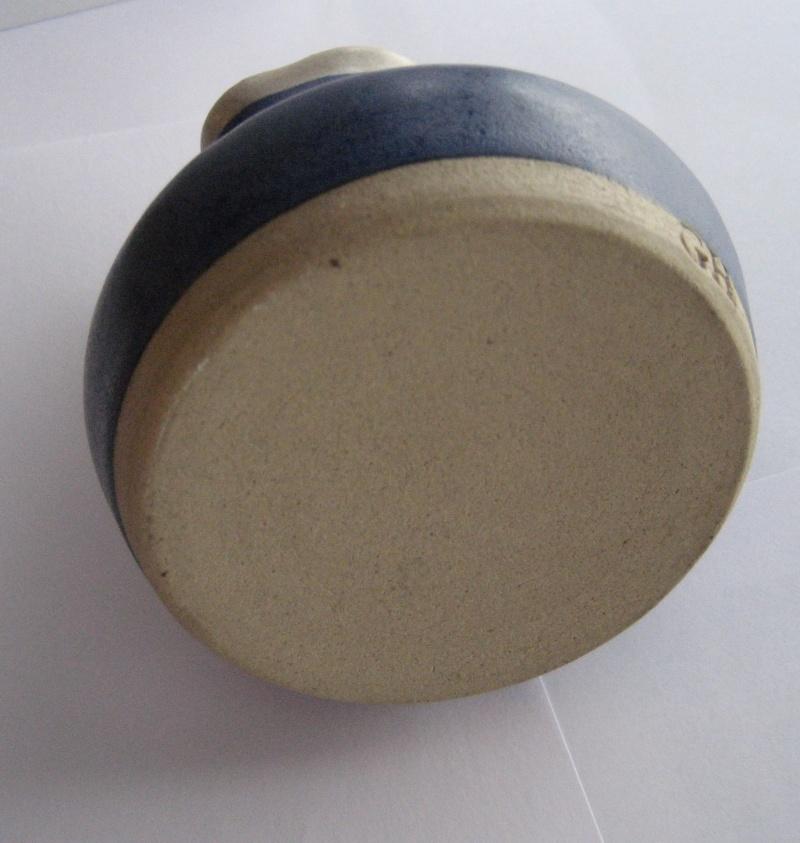 Small blue matt glaze cream jug stamped GH Img_1631