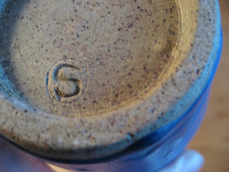Blue drip glaze jug - S stamp Img_1828