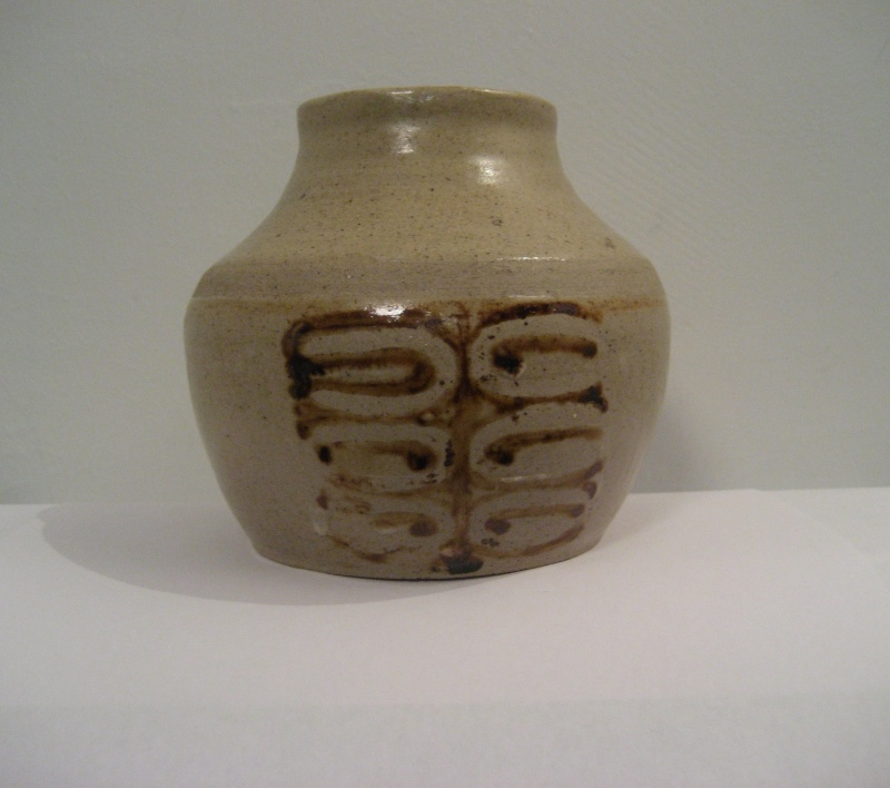 Stoneware Vase. Simple Design, Stamped LW Also Small Blue Pot Stamped PW Img_2116