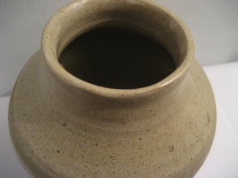 Stoneware Vase. Simple Design, Stamped LW Also Small Blue Pot Stamped PW Img_2117