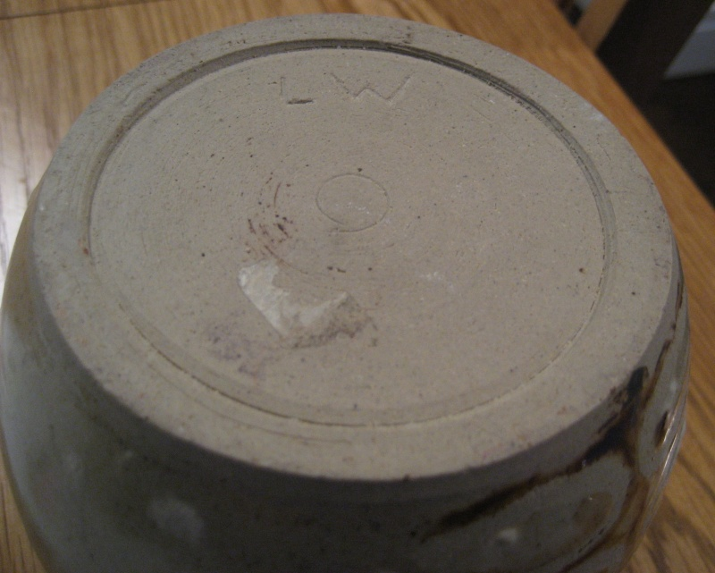 Stoneware Vase. Simple Design, Stamped LW Also Small Blue Pot Stamped PW Img_2118