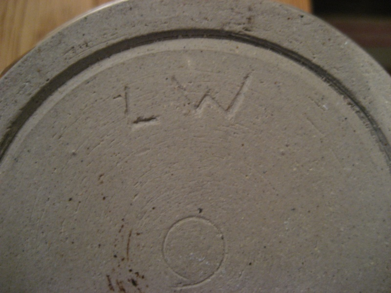 Stoneware Vase. Simple Design, Stamped LW Also Small Blue Pot Stamped PW Img_2119