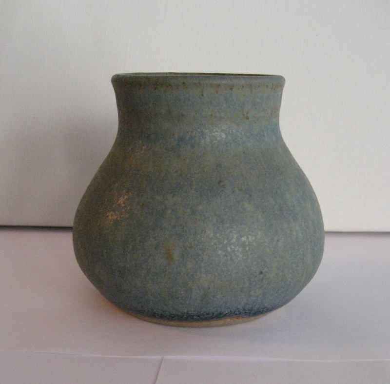 Stoneware Vase. Simple Design, Stamped LW Also Small Blue Pot Stamped PW Img_2210