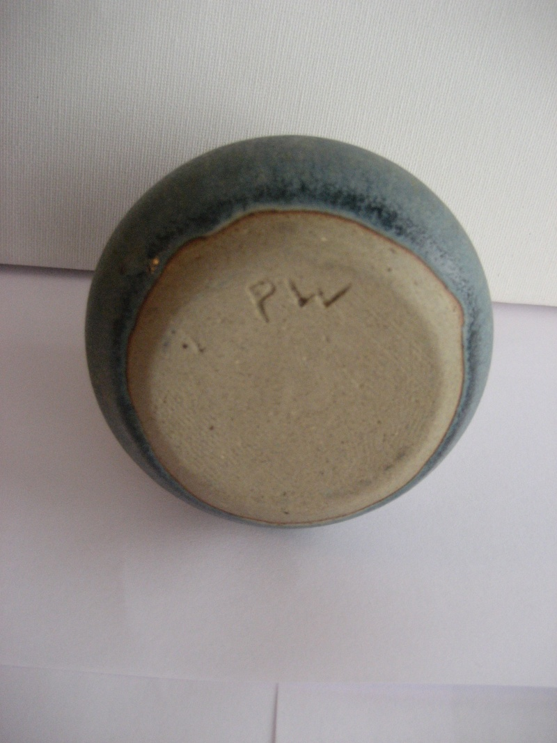 Stoneware Vase. Simple Design, Stamped LW Also Small Blue Pot Stamped PW Img_2211
