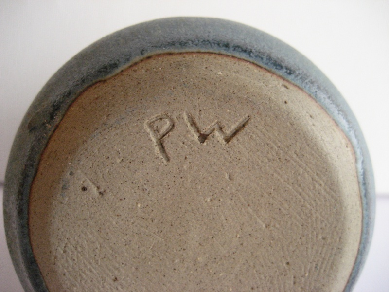 Stoneware Vase. Simple Design, Stamped LW Also Small Blue Pot Stamped PW Img_2212