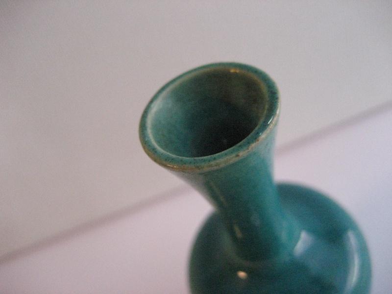 Tiny Long Neck Vase. Deep Turquoise/Aqua Glaze - Japanese Img_2218