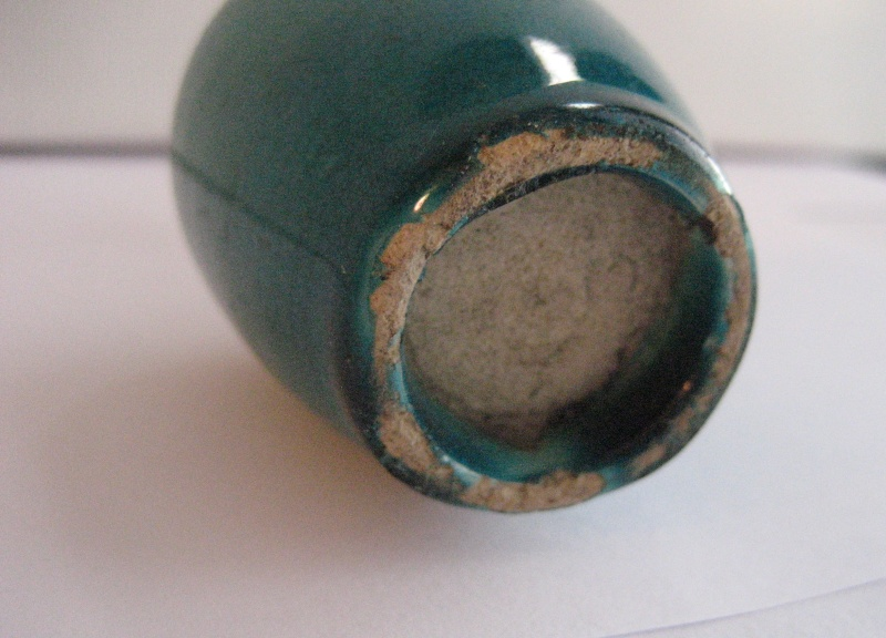 Tiny Long Neck Vase. Deep Turquoise/Aqua Glaze - Japanese Img_2219