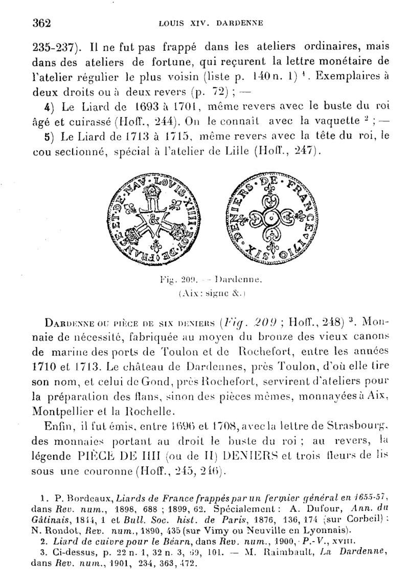 """Mes Six deniers dits """"Dardennes"""" pour Louis XIV et leur histoire Darden10"""