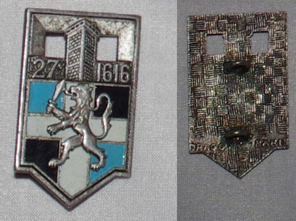 Insigne Infanterie métro, colonial, AFN, Génie trans  27ri_v10