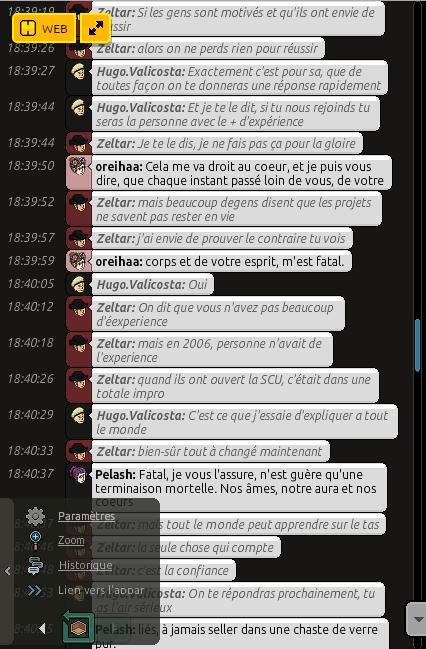 Conversation avec Zeltar 610