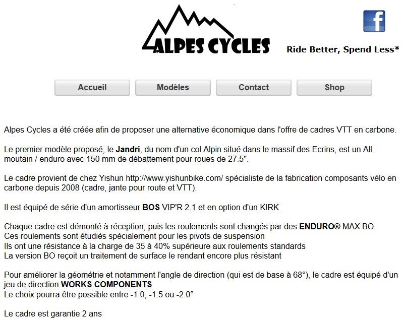 Cadre carbone JANDRI 150 par Alpes Cycles (85250 Saint Fulgent) 2015-126