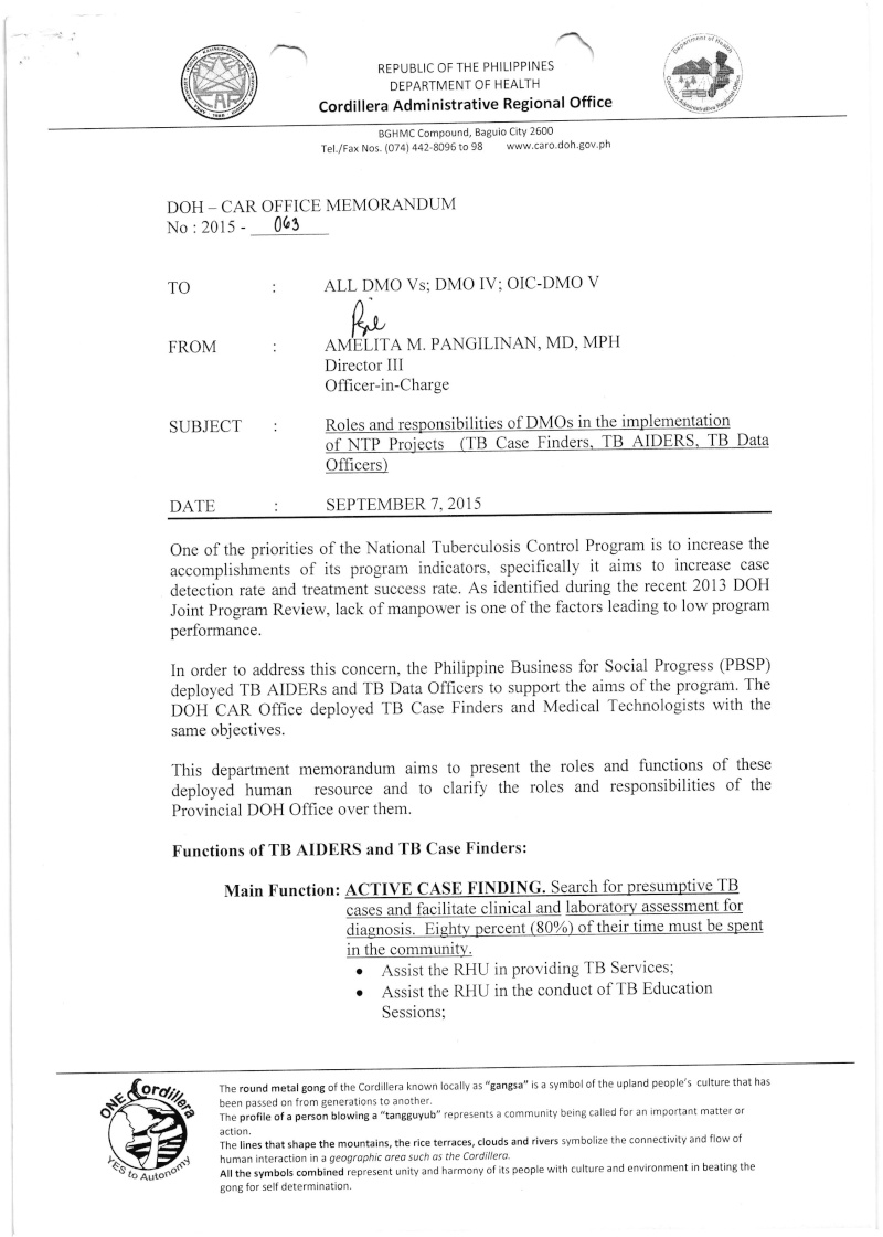 DCOM 2015-063: Roles and responsibilities of DMOs in implementation of NTP Projects (TB Case Finders, TB AIDERS, TB Data Officers) on September 7,2015.  063_a10