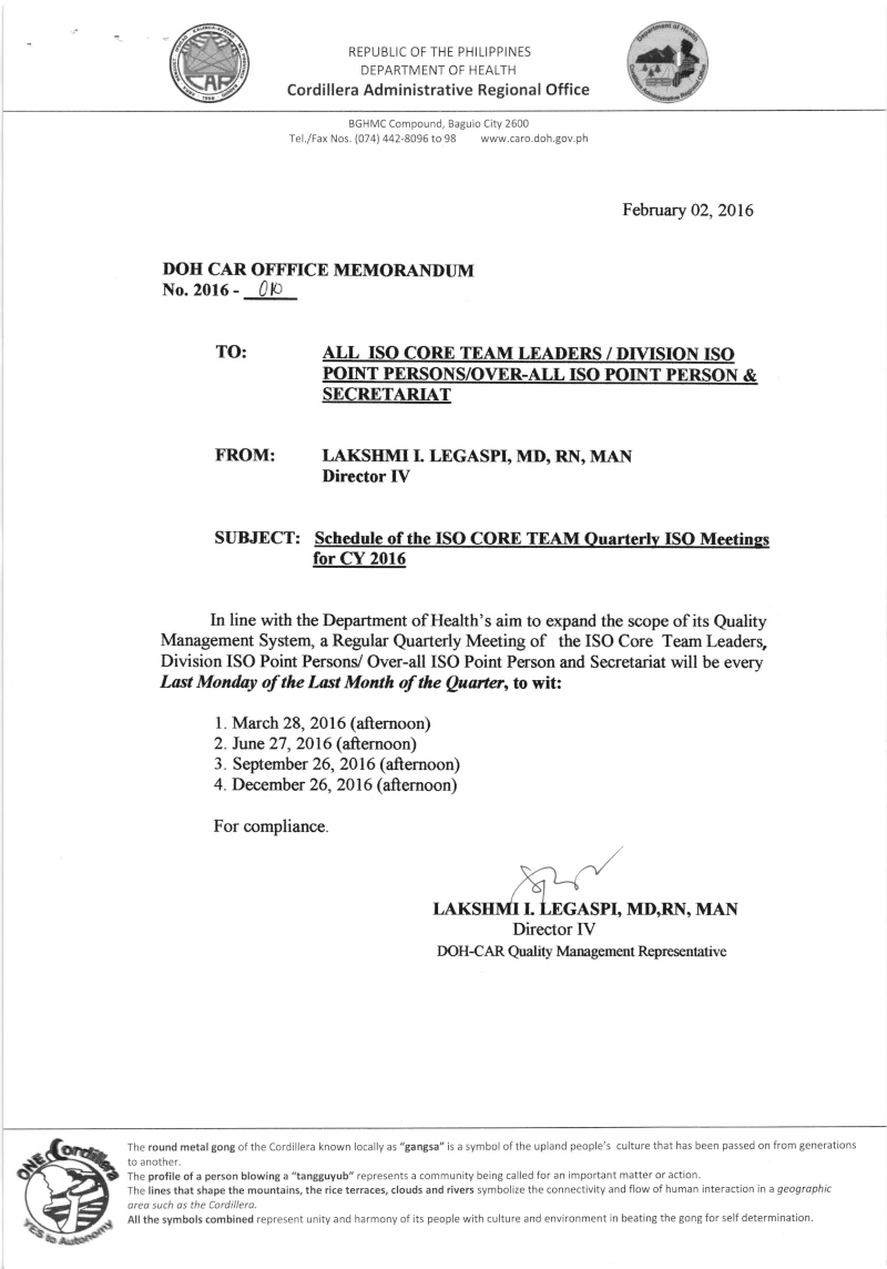 DCOM 2016-010: Schedule of ISO Core Team Quarterly ISO Meeting for CY 2016 Dcom1010