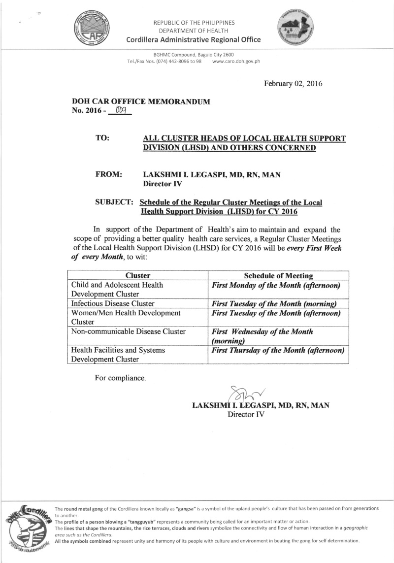 DCOM 2016-009: Schedule of Regular Cluster Meeting of the Local Health Support Division (LHSD) for CY 2016 Dcom910