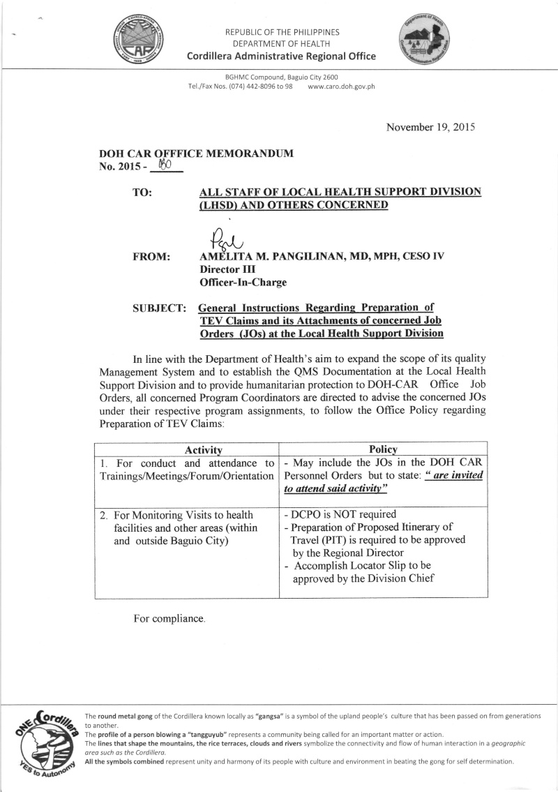 DCOM 2015-080: General Instructions Regarding Preparation of TEV Claims and its Attachments of Concerned Job Orders at LHSD Dcom_010