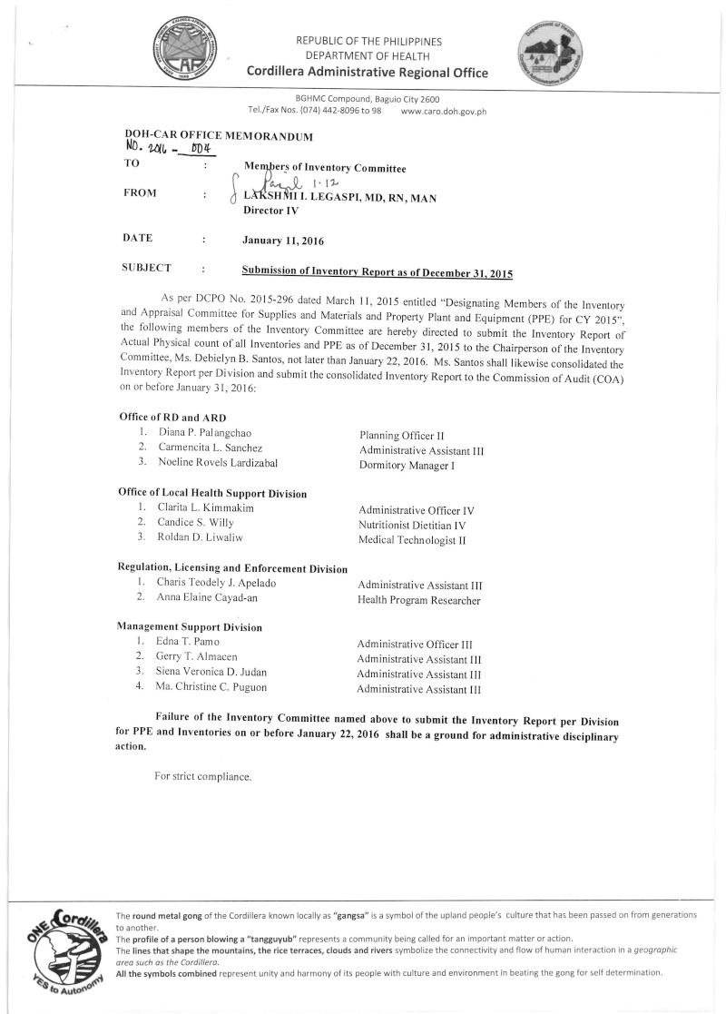 DCOM 2016-004: Submission of Inventory Report as of Dec. 31, 2015 Dcom_013