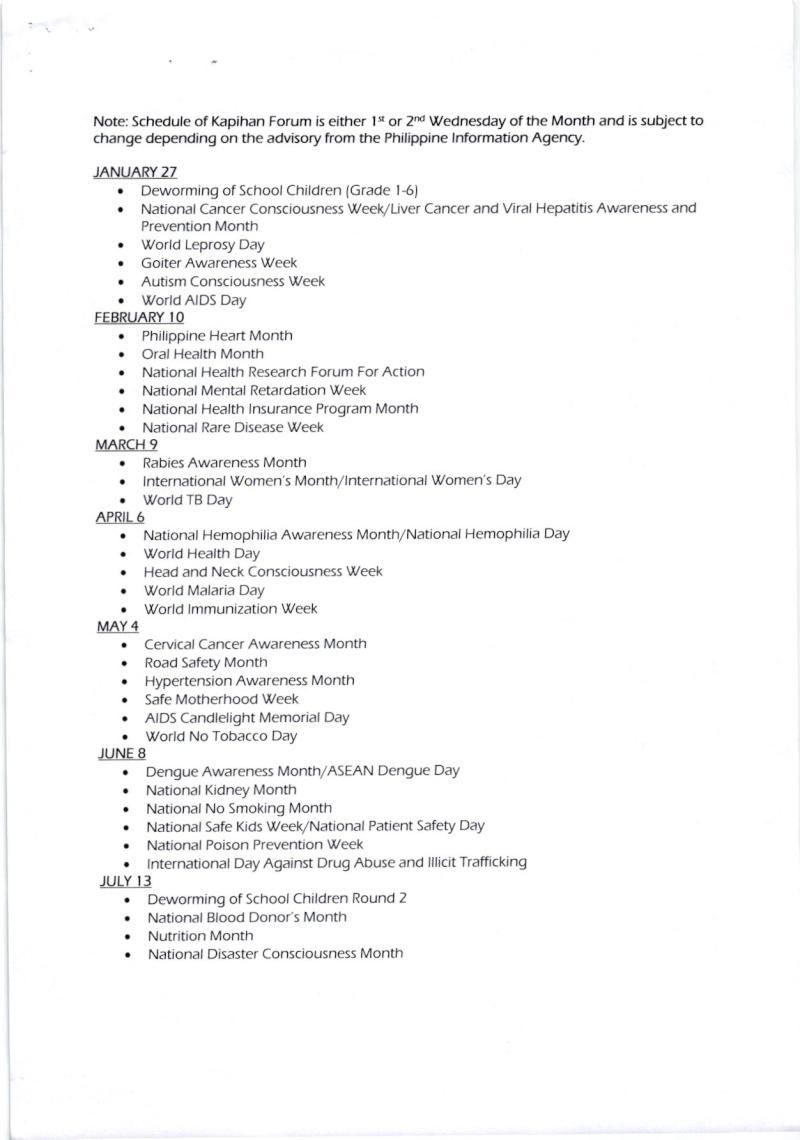 DCOM 2016-006: CY 2016 Kapihan sa Baguio Forum Schedule Dcom_015