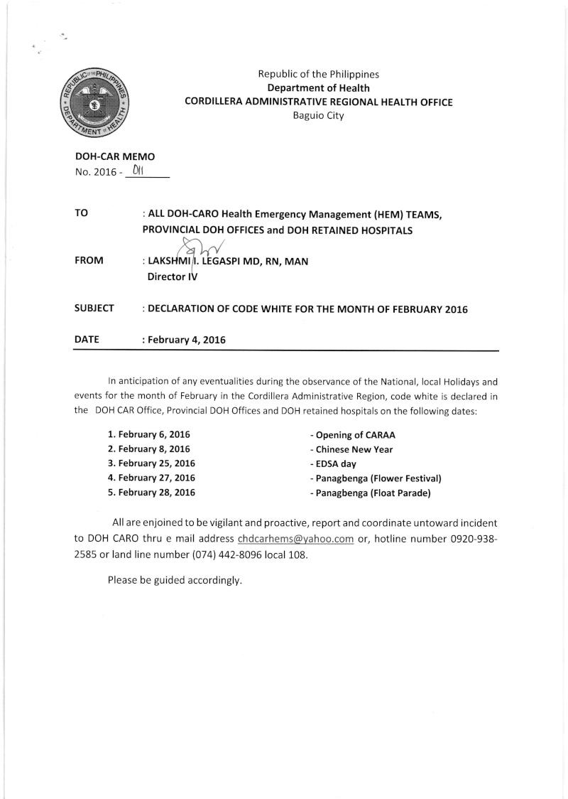 DCOM 2016-011: Declaration of Code White for the month of February 2016 Dm_00110