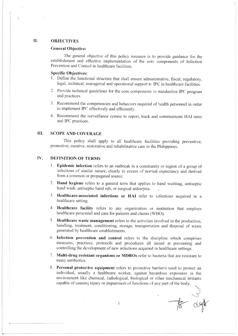 DCMC 2016-001: National Policy on Infection Prevention and Control in Healthcare Facilities Dmc_0011