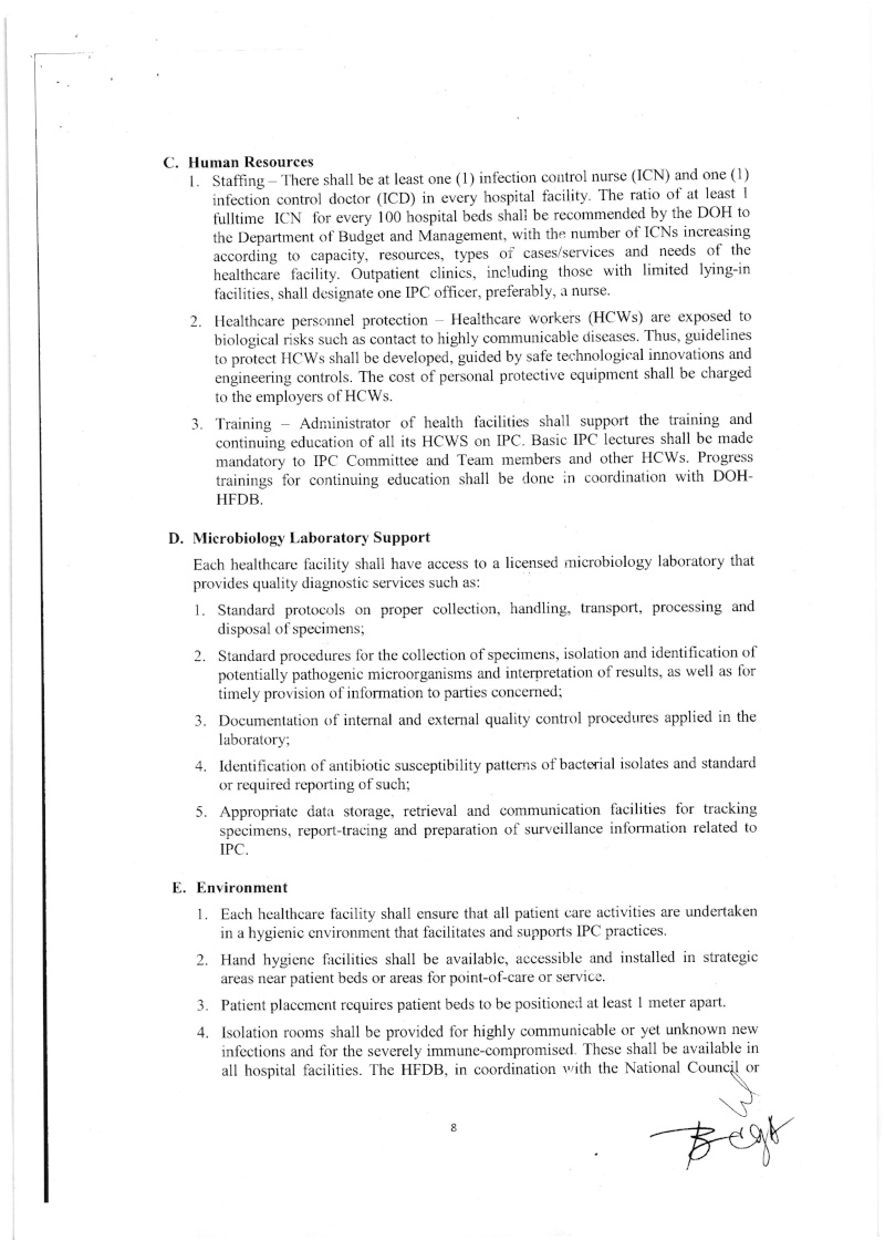 DCMC 2016-001: National Policy on Infection Prevention and Control in Healthcare Facilities Dmc_0017