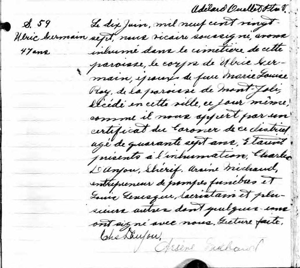 Ulric Germain pendu en 1927 à Rimouski pour le meurtre de son épouse Sypult12
