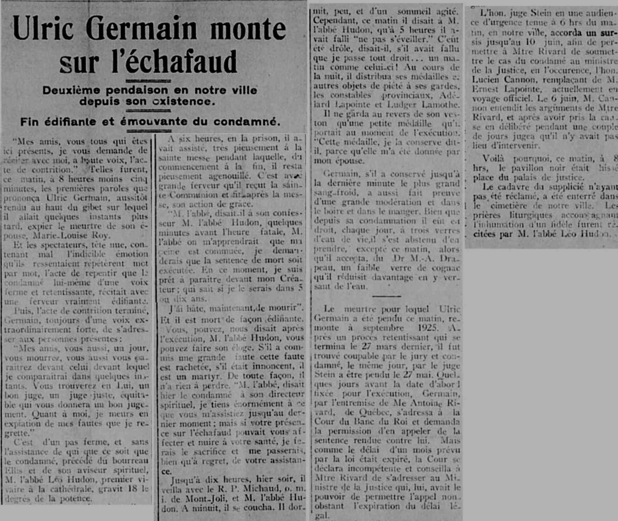 Ulric Germain pendu en 1927 à Rimouski pour le meurtre de son épouse Ulric_10