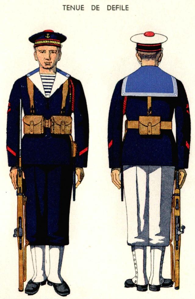 Uniforme de Matelot Breveté Fusillier Marin (Défilé)1938 - Source planches Marine Nationale 1938 Fusili10