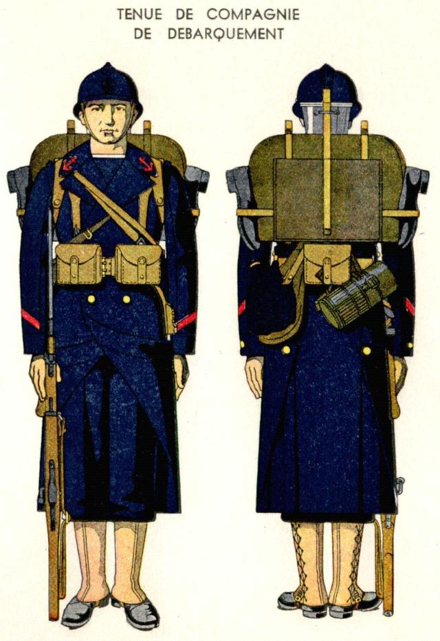 Uniforme de Matelot Breveté (Tenue Débarquement) 1938 - Source planches Marine Nationale 1938 Mlotde10