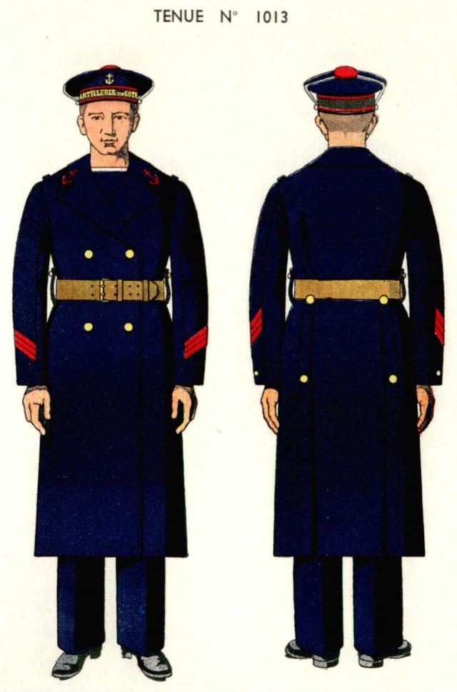 Uniforme de Quartier Maitre 1ere classe en capote 1938 - Source planches Marine Nationale 1938 Qm1310