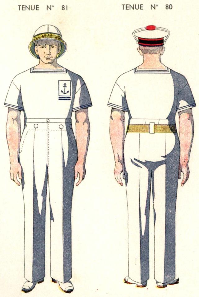 Uniforme de Quartier Maitre 2eme classe 1938 (pays chauds)- Source planches Marine Nationale 1938 Qm2310