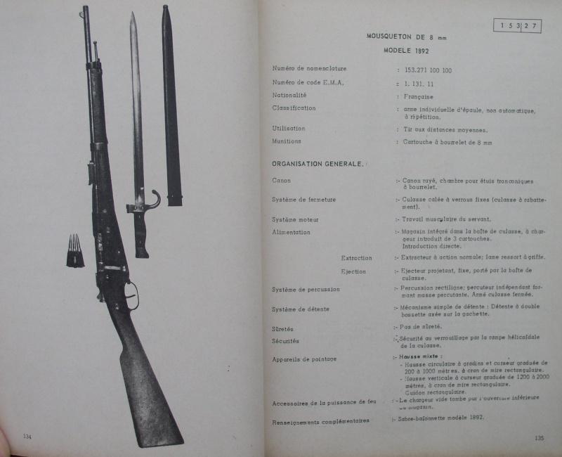 catalogue répertoire des armes légères et affuts en service dans l'armée française MAT 1191 1414