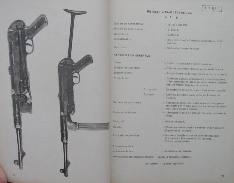 catalogue répertoire des armes légères et affuts en service dans l'armée française MAT 1191 820