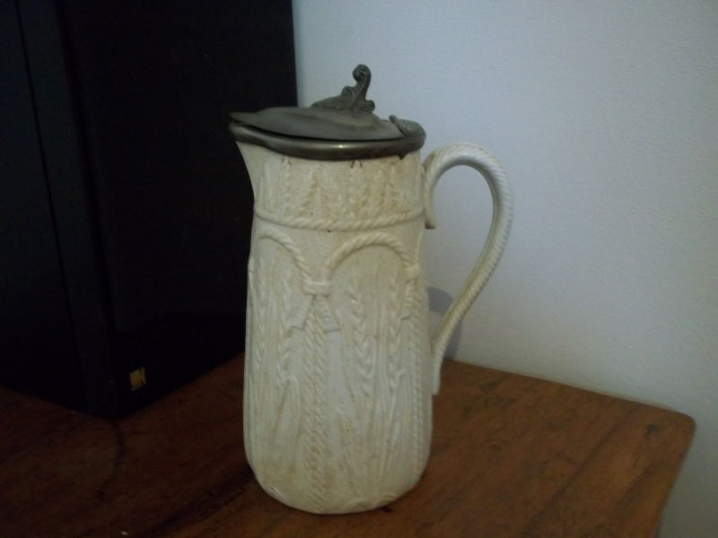 Feldspathic porcelain jug with metal lid; English 19thC?  100_1523