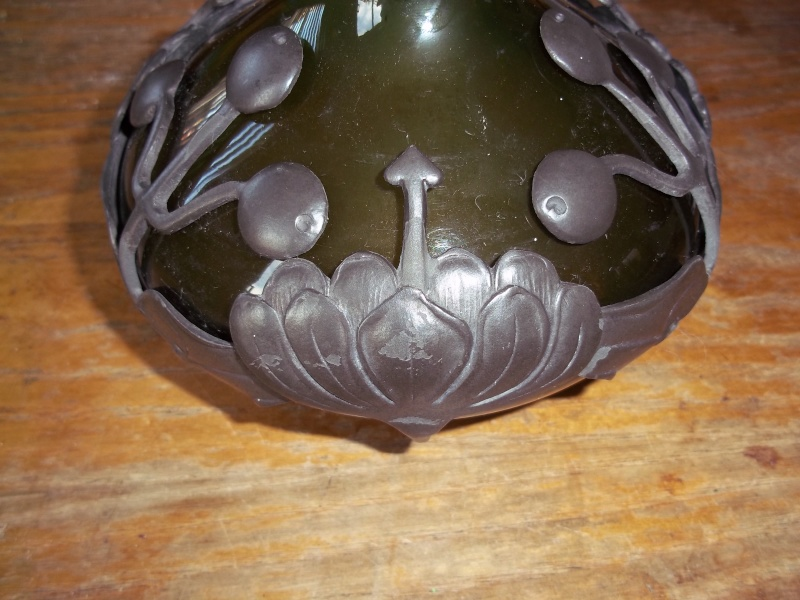 green vase art deco with pewter base mount/overlay 100_1541