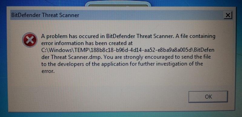errore BitDefender Threat Scanner 20151211