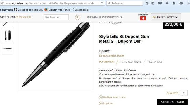 Je vend Stylo bille St Dupont Gun Métal ST Dupont Défi  Stylo_11